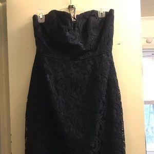 Navy blue strapless lace dress J Crew